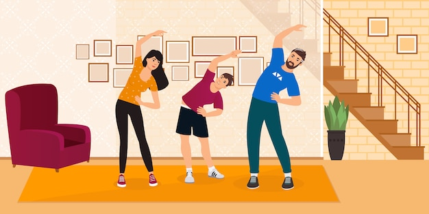 Pais felizes com exercícios de ioga familiar de criança no banner de estilo moderno. família fazendo exercícios em casa