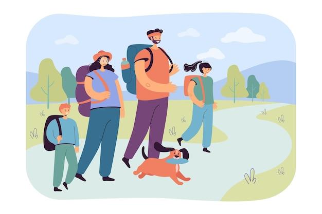 Pais felizes com filhos caminhando na ilustração plana da natureza