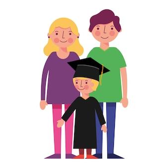 Pais felizes e ilustração em vetor escola graduado menino