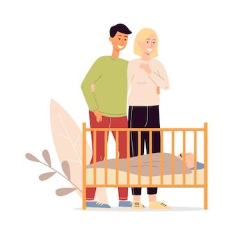 Pais felizes, homem e mulher, personagens de desenhos animados olhando para um filho recém-nascido dormindo