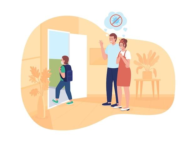 Pais felizes vêem seu filho ir para a escola ilustração vetorial 2d isolada. estudante retorna para a escola depois de personagens planos cobiçosos no fundo dos desenhos animados. aluno com cena colorida de mochila