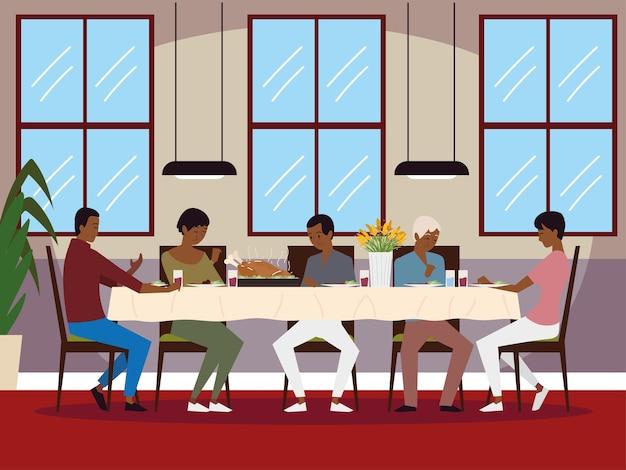 Pais, filhos e avô sentados à mesa comendo ilustração