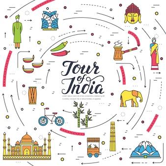 País índia viajar guia de férias de bens, local. conjunto de arquitetura, moda, pessoas, item.