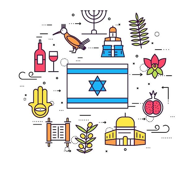 País israel viajar guia de férias de mercadorias. conjunto de arquitetura, moda, pessoas, item, natureza.
