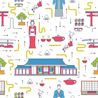 País japão viajar guia de férias de mercadorias. conjunto de arquitetura, moda, pessoas, itens, natureza.