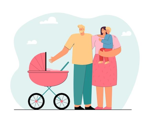 Pais jovens caminhando com crianças pequenas. ilustração vetorial plana