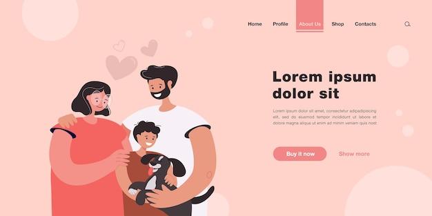 Pais jovens e felizes com a página inicial de um filho e um cachorro em estilo simples