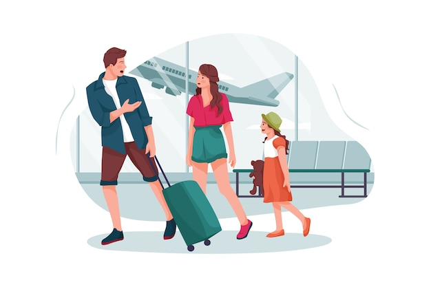 Pais jovens e filha vão para o aeroporto
