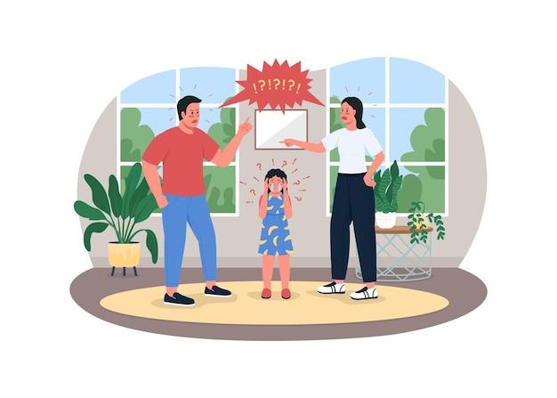 Pais lutando com banner 2d da web