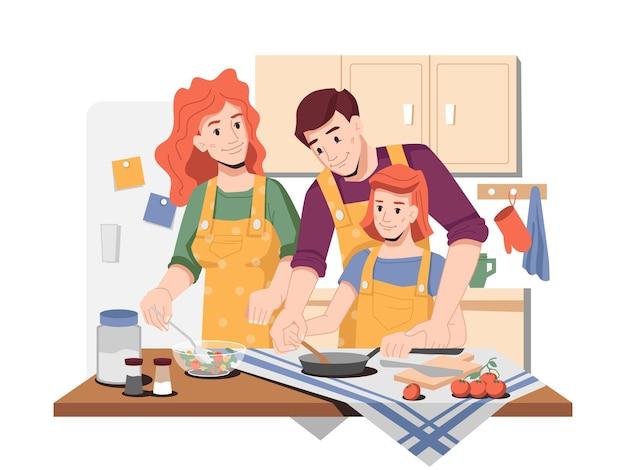 Pais mostrando como cozinhar para a filha e o pai com a filha preparando comida para o almoço