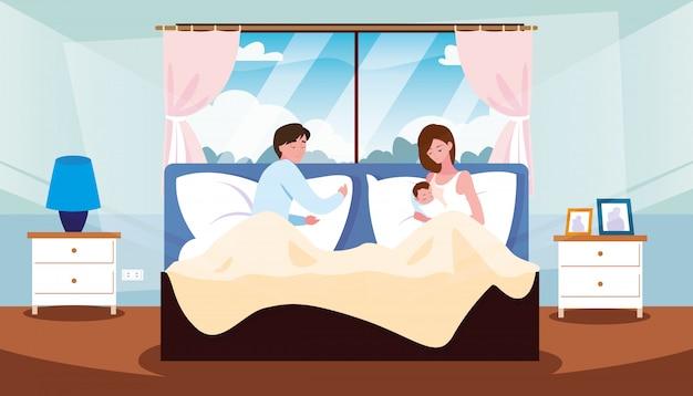 Pais na cama com recém-nascido dentro do quarto