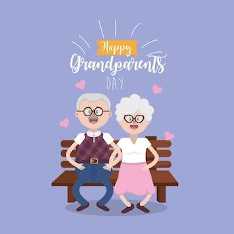 Pais sentados na cadeira com óculos e penteado