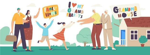 Pais trazendo filhos nas férias de verão na casa dos avós. crianças correndo para encontrar a avó e o avô, pai, mãe, personagens infantis, no verão. ilustração em vetor de pessoas lineares