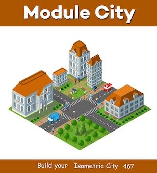 Paisagem 3d isométrica da cidade com casas, jardins e ruas em uma vista superior tridimensional Vetor Premium