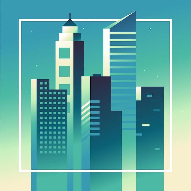 Paisagem abstrata cidade de vetor em cores brilhantes gradientes