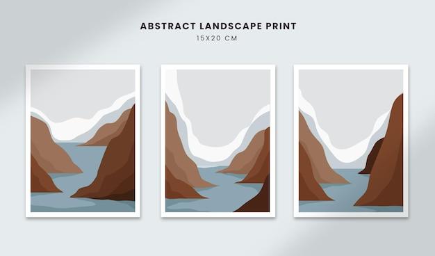 Paisagem abstrata pôsteres arte mão desenhada formas capas com cenário de lago