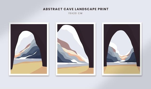 Paisagem abstrata pôsteres arte mão desenhada formas capas com perspectiva de caverna