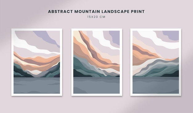 Paisagem abstrata pôsteres arte mão desenhada formas coberturas com montanha