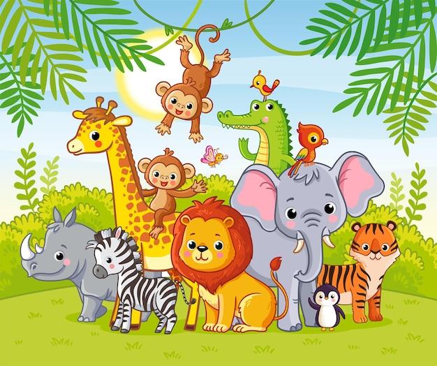 Paisagem africana com animais africanos fofos grande conjunto de animais