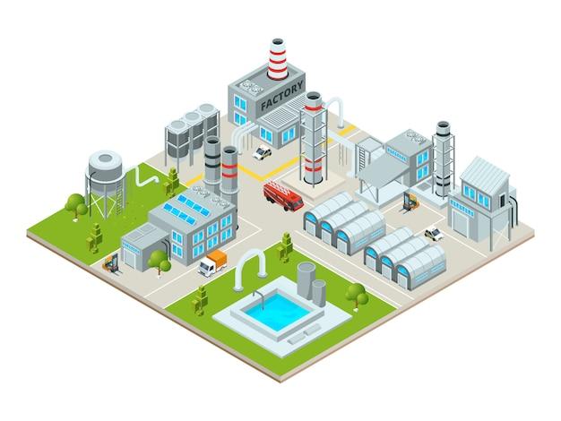 Paisagem ao ar livre com edifícios de fábrica