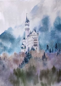 Paisagem aquarela mão desenhada construção tradicional e natureza