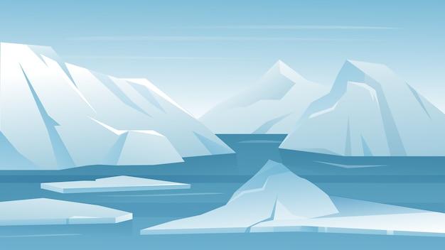 Paisagem ártica da antártica geada com montanhas geladas de gelo e neve
