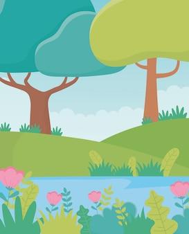 Paisagem árvores flores colinas lago folhagem natureza vegetação imagem