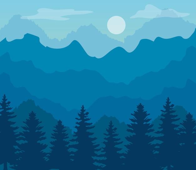Paisagem azul com silhueta de montanhas e pinheiros.