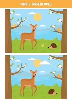 Paisagem bonito dos desenhos animados com ouriço, veados e pássaros.