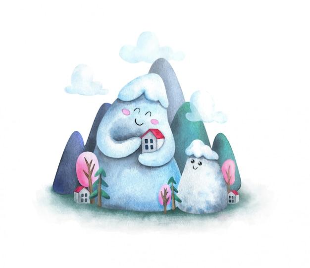 Paisagem bonito dos desenhos animados com uma casa nas montanhas.