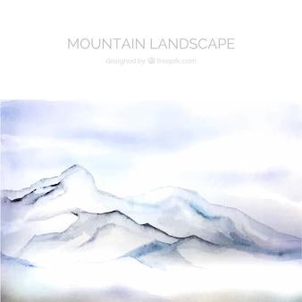Paisagem branca com montanhas, aquarelas