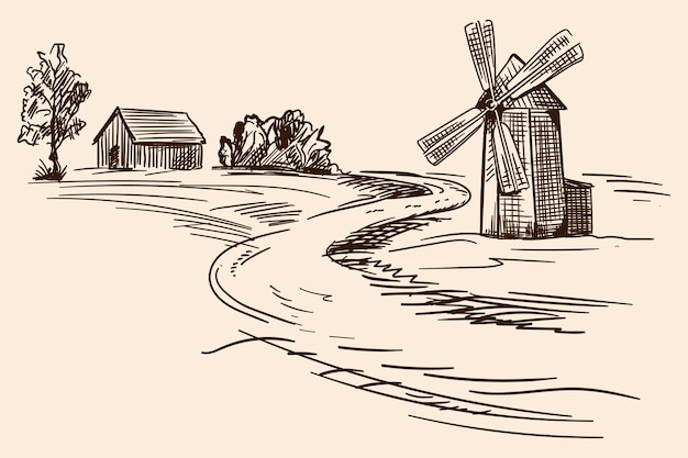 Paisagem campestre com casas de madeira e um moinho. desenho a lápis de mão sobre um fundo bege.