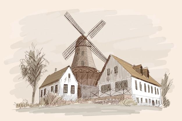 Paisagem campestre com casas de madeira e um moinho. desenho a mão lápis sobre um fundo bege.