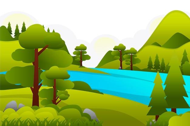 Paisagem campestre com lago