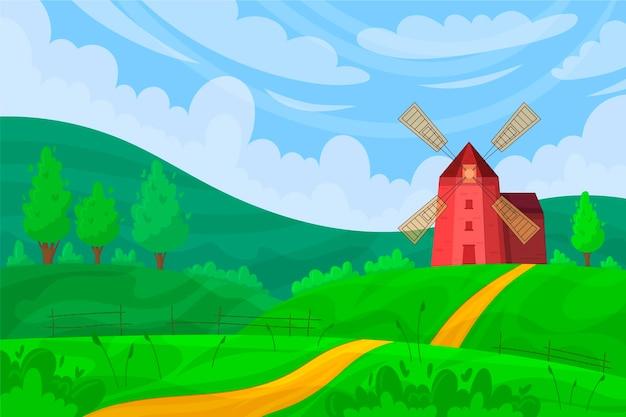Paisagem campestre com moinho de vento