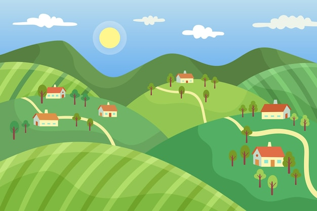 Paisagem campestre com vila