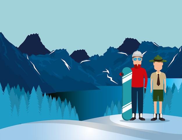 Paisagem canadense com snowboard atleta e guarda florestal