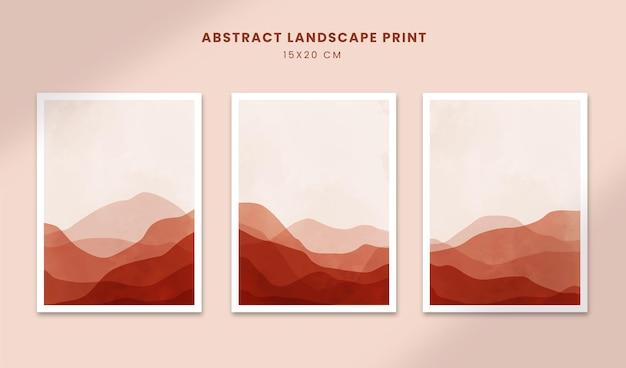 Paisagem cartazes abstratos arte formas desenhadas à mão coberturas com montanha
