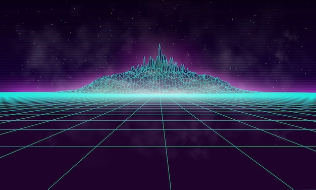Paisagem cibernética enevoada com montanha, desenhada no estilo dos anos 80. fundo de ilustração vetorial retrô.
