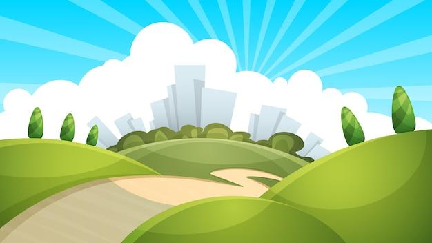 Paisagem, cidade, nuvem, sol.