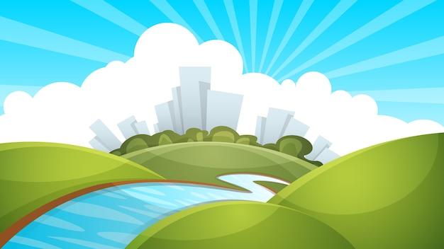 Paisagem, cidade, rio, nuvem, sol.