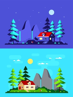 Paisagem colorida com moderna casa de campo, pinheiros e montanhas no fundo. casa na floresta, casa de verão, estilo de vida no campo.