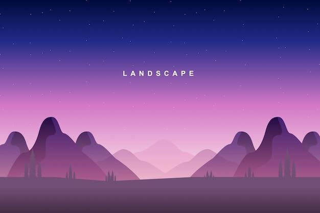 Paisagem colorida montanha e céu estrelado
