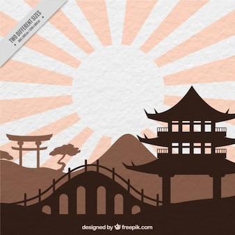 Paisagem colorida oriental