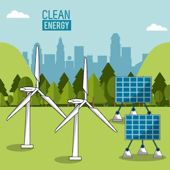 Paisagem colorida paisagens de energia eólica e painéis de energia solar