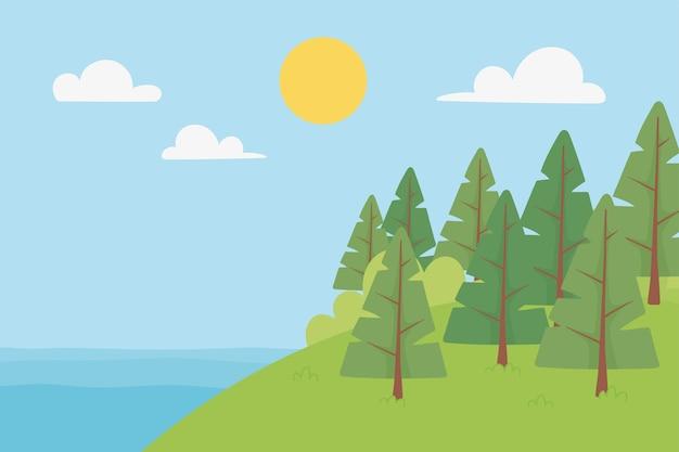 Paisagem com árvores do lago na colina ensolarado dia céu nuvens ilustração