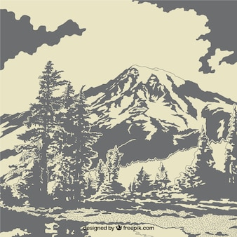 Paisagem com árvores e montanhas