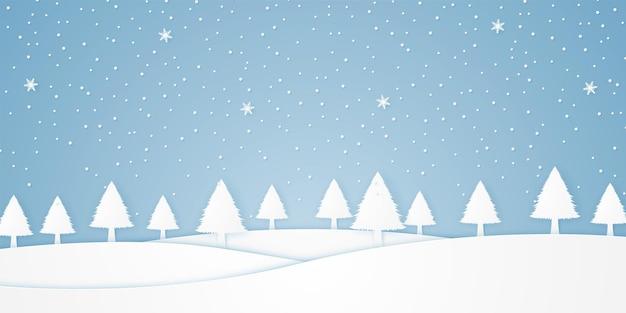 Paisagem com árvores e neve caindo no inverno, colina branca, estilo de arte em papel
