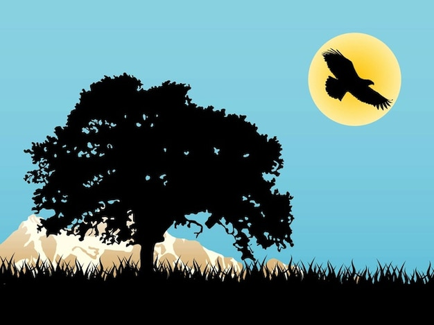 Paisagem com árvores e pássaros vector