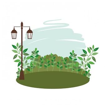 Paisagem com árvores e plantas ícone isolado